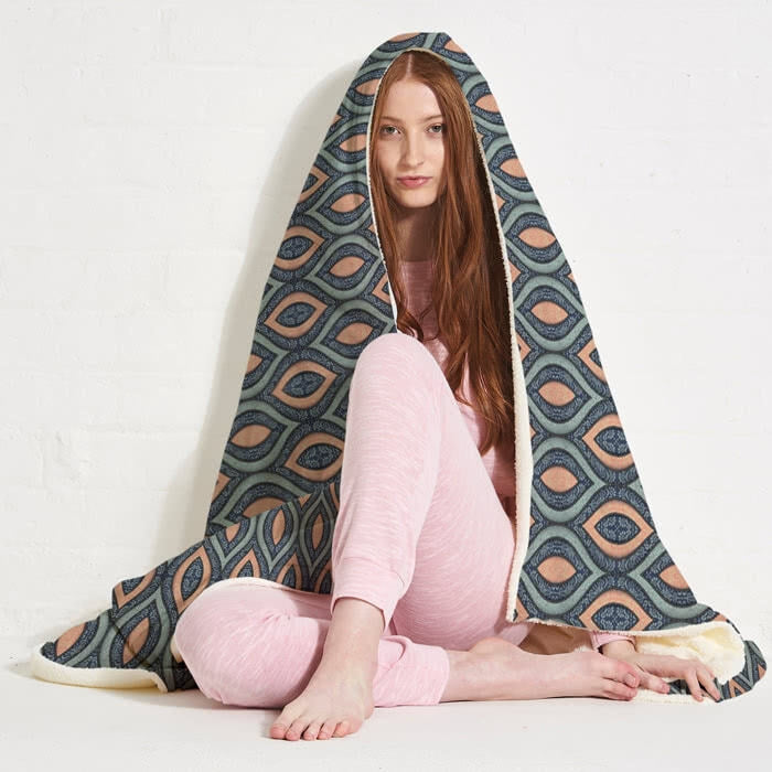 ClaireaBella Peacock Pattern Hooded Blanket - Image 6
