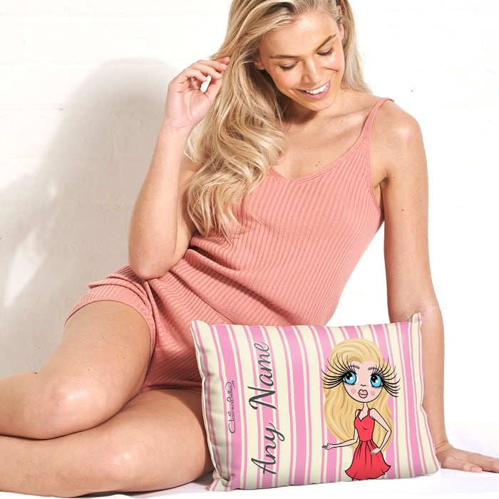 ClaireaBella Placement Cushion - Pink Stripe - Image 1