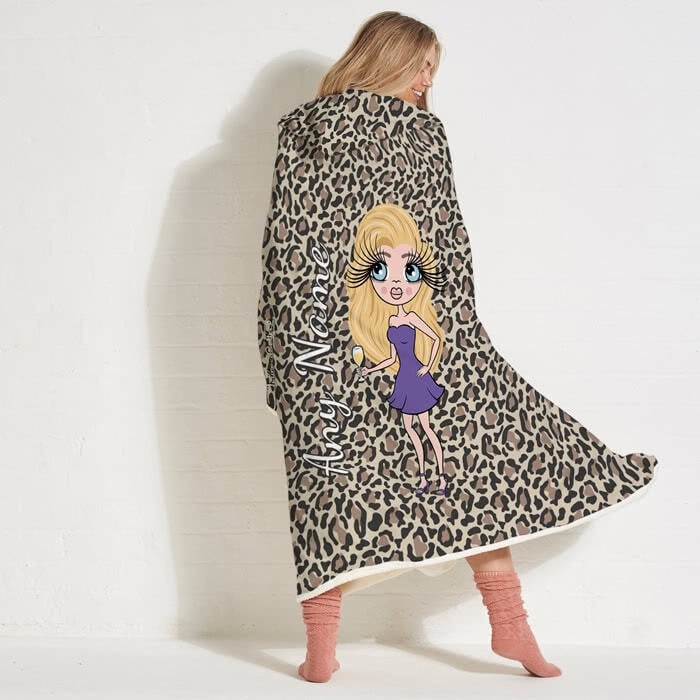 ClaireaBella Leopard Print Hooded Blanket - Image 1