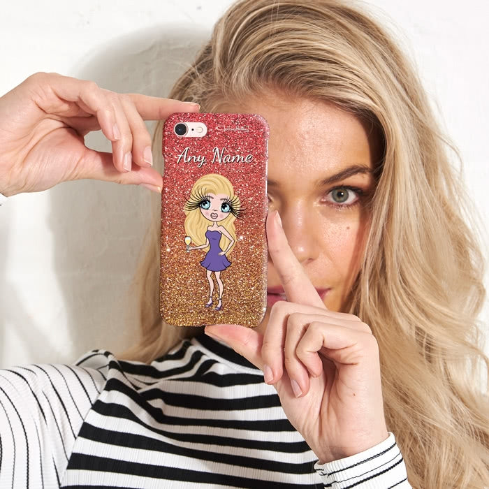 ClaireaBella Personalised Ombre Glitter Effect Phone Case - Image 2