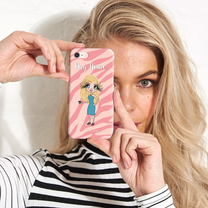 ClaireaBella Personalised Pink Zebra Phone Case - Image 3