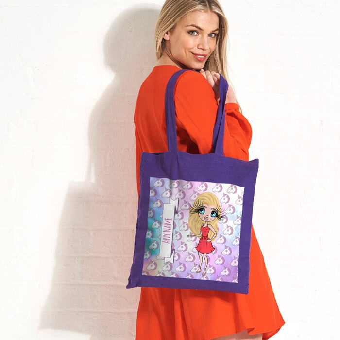 ClaireaBella Unicorn Emoji Colour Pop Canvas Bag - Image 3