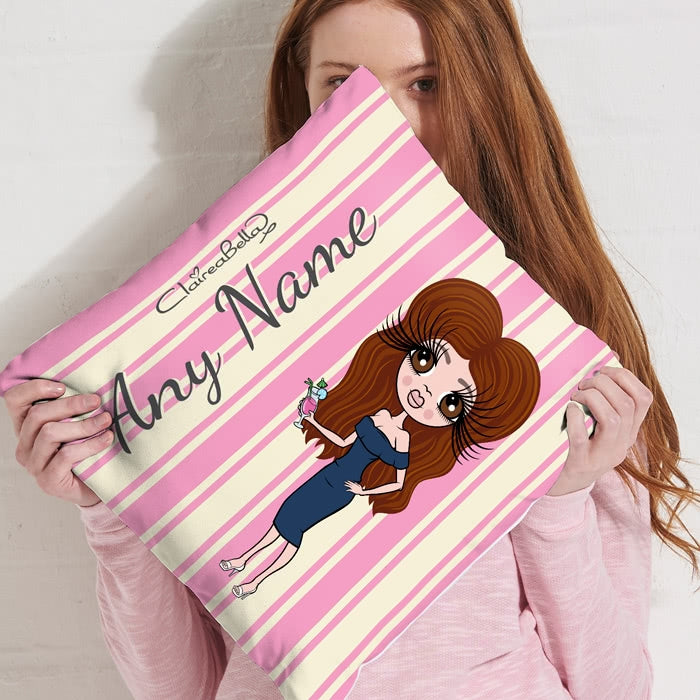 ClaireaBella Square Cushion - Pink Stripe - Image 4