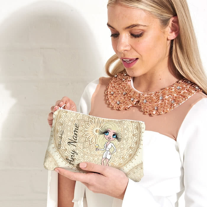 ClaireaBella Golden Lace Make Up Bag - Image 1