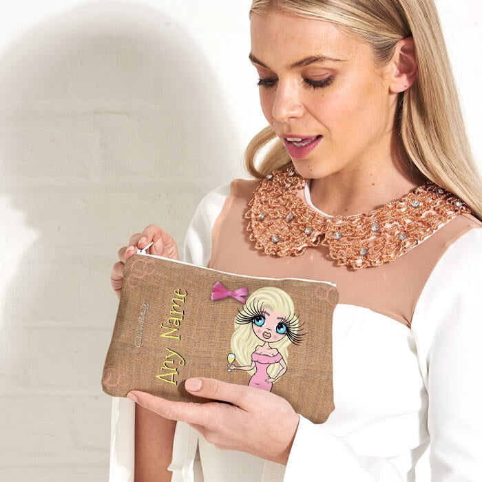 ClaireaBella Jute Print Make Up Bag - Image 3