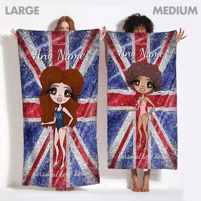 ClaireaBella Glitter Effect Union Jack Beach Towel - Image 7