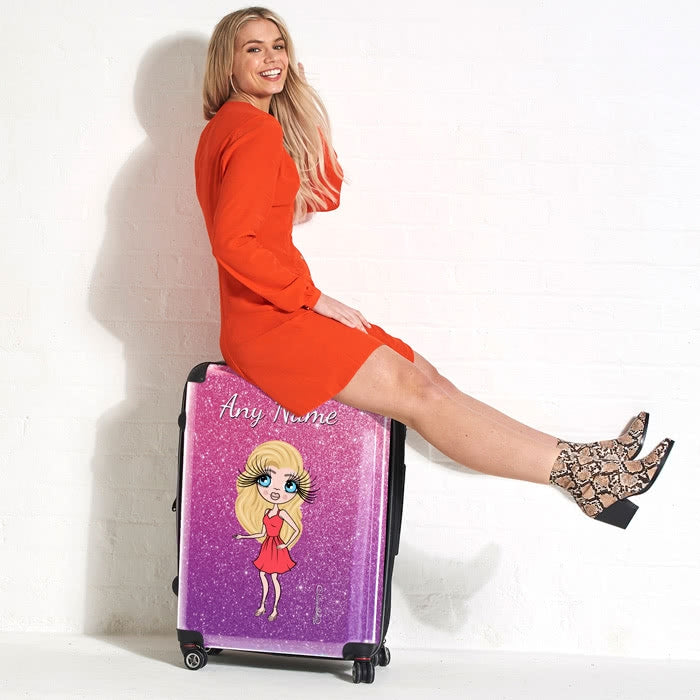 ClaireaBella Ombre Glitter Effect Suitcase - Image 2