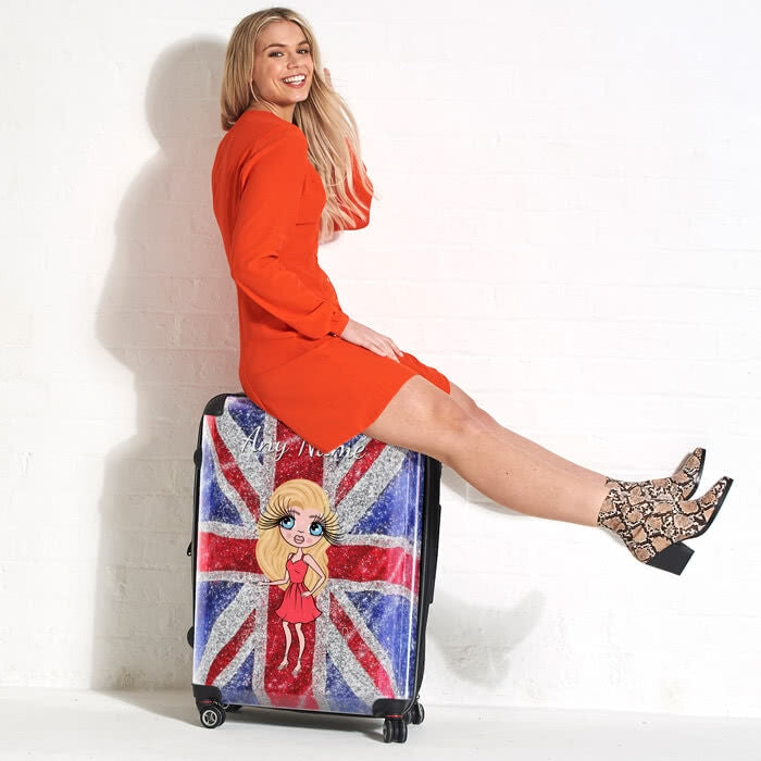 ClaireaBella Glitter Effect Union Jack Suitcase - Image 2