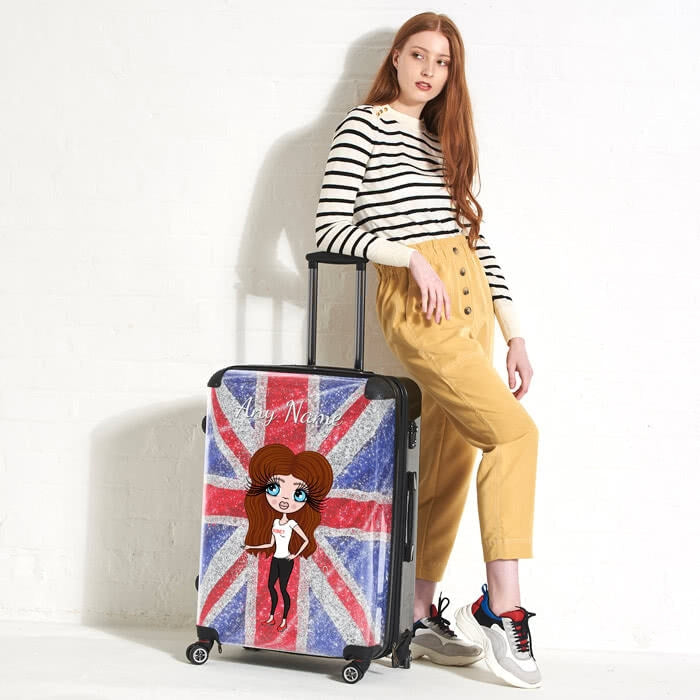 ClaireaBella Glitter Effect Union Jack Suitcase - Image 1
