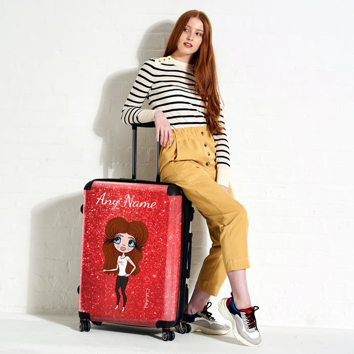 ClaireaBella Romantic Glitter Effect Suitcase - Image 1