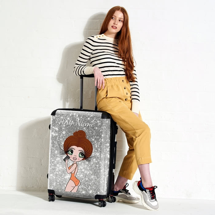 ClaireaBella Selfie Glitter Effect Suitcase - Image 8