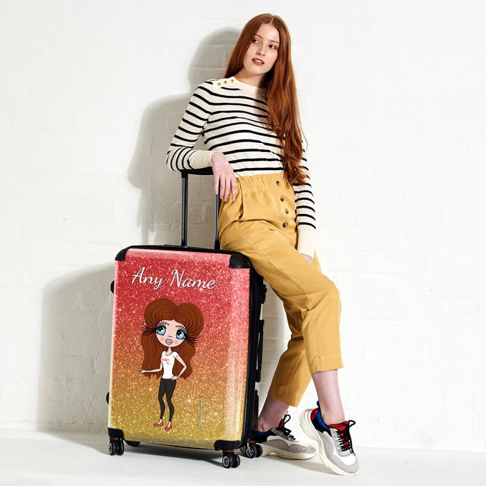 ClaireaBella Ombre Glitter Effect Suitcase - Image 4