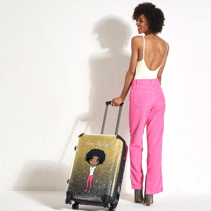 ClaireaBella Ombre Glitter Effect Suitcase - Image 6