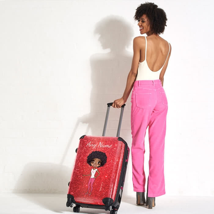 ClaireaBella Romantic Glitter Effect Suitcase - Image 3