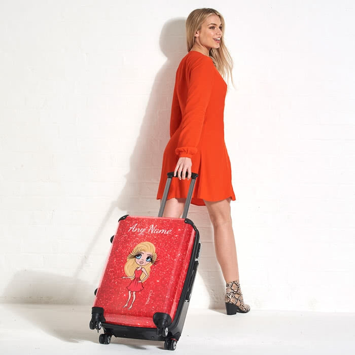 ClaireaBella Romantic Glitter Effect Suitcase - Image 5