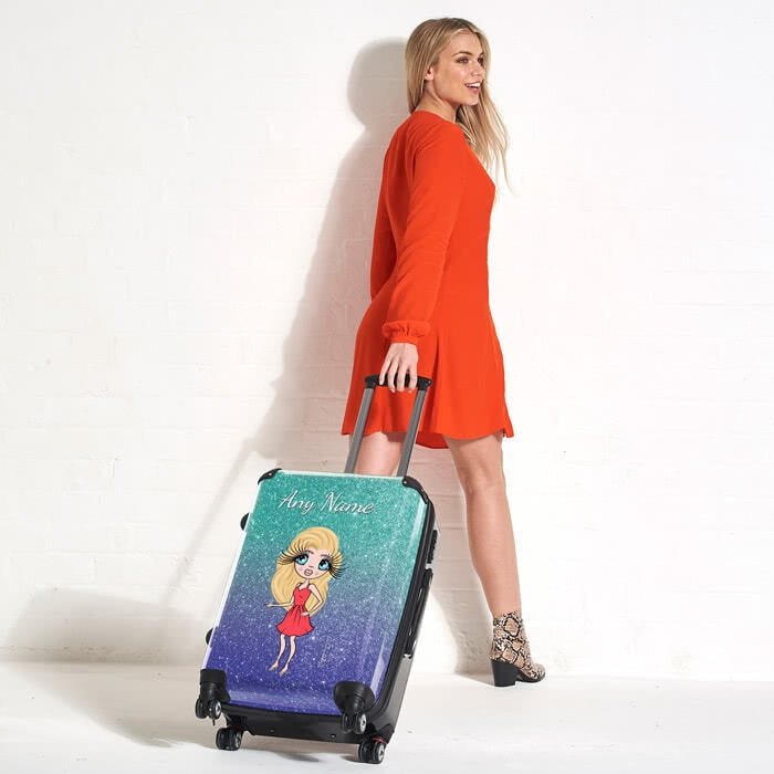 ClaireaBella Ombre Glitter Effect Suitcase - Image 5