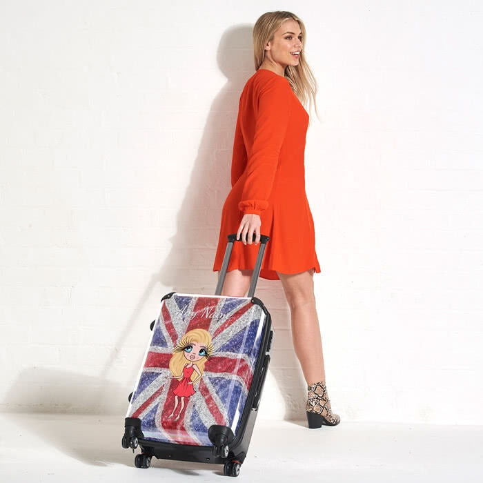ClaireaBella Glitter Effect Union Jack Suitcase - Image 5
