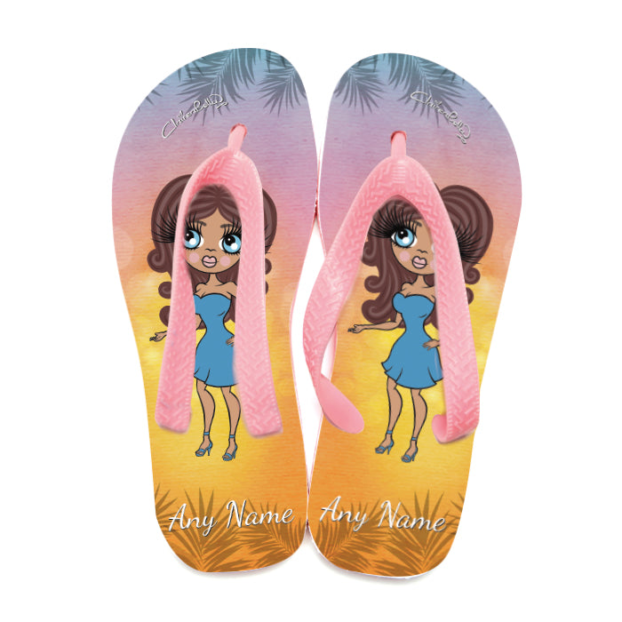 ClaireaBella Tropical Sunset Flip Flops