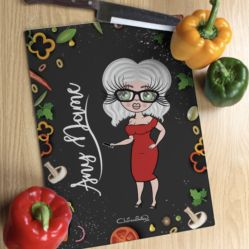 ClaireaBella Glass Chopping Board - Foodie Fun - Image 1