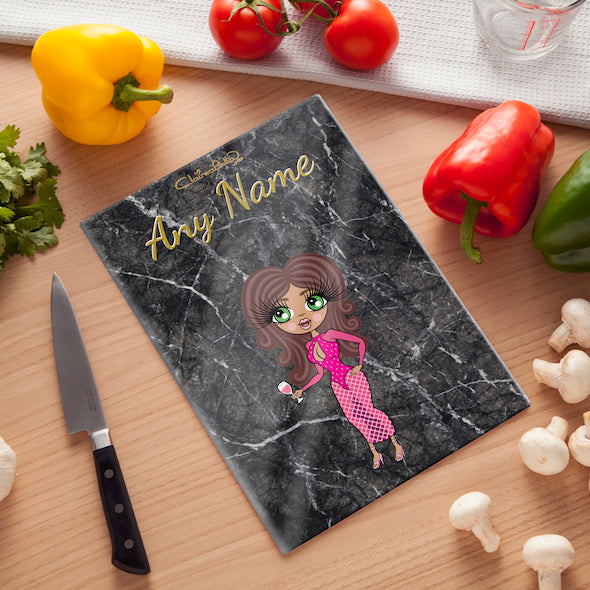 ClaireaBella Glass Chopping Board - Marble Effect - Image 1