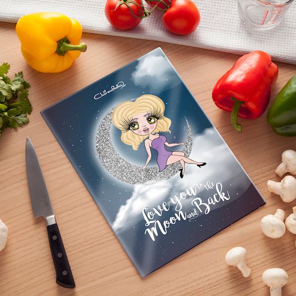 ClaireaBella Glass Chopping Board - Love You To The Moon - Image 1