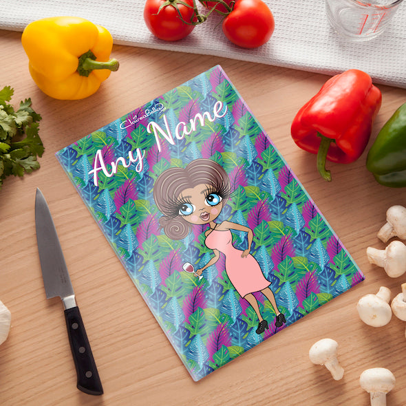 ClaireaBella Glass Chopping Board - Neon Leaf - Image 1