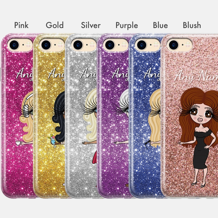 ClaireaBella Personalised Glitter Effect Phone Case - Blue - Image 2