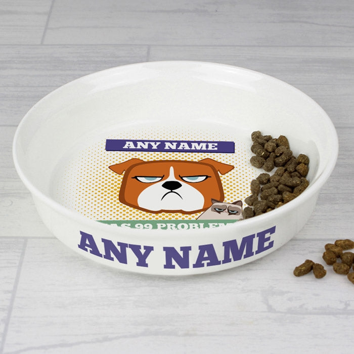 Grumpy Cat 99 Problems Small Dog Bowl - Image 2