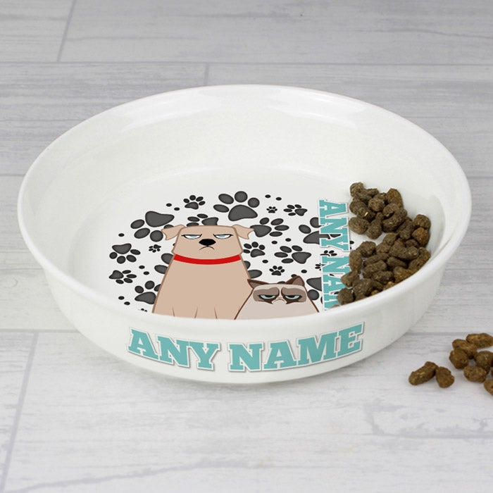 Grumpy Cat Grey Paw Pattern Small Dog Bowl - Image 2