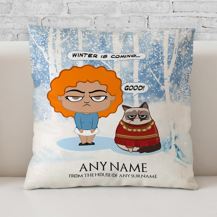 Grumpy Cat Winter Is Coming Cushion - Image 1