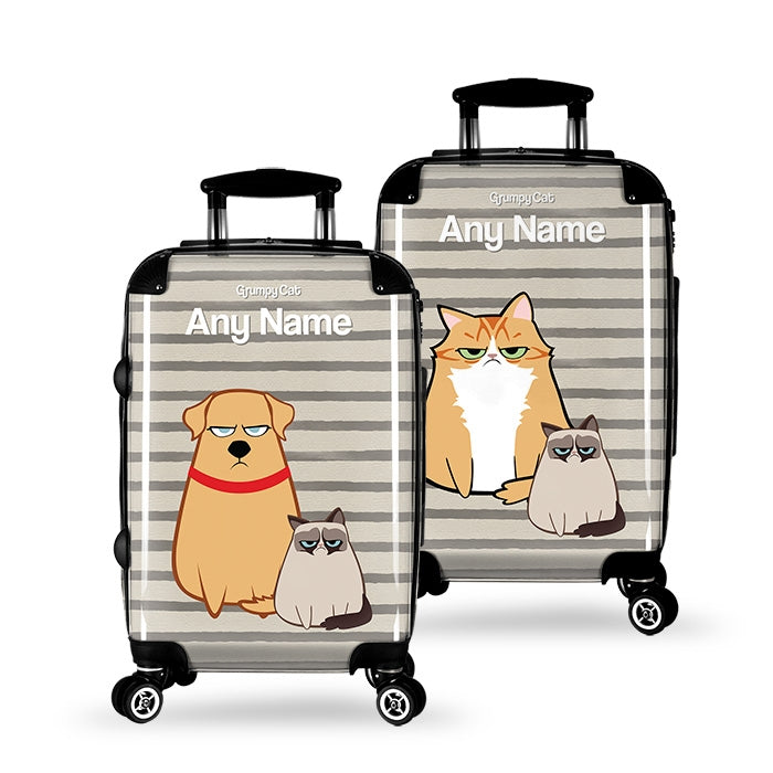 Grumpy Cat Stripe Suitcase - Image 2