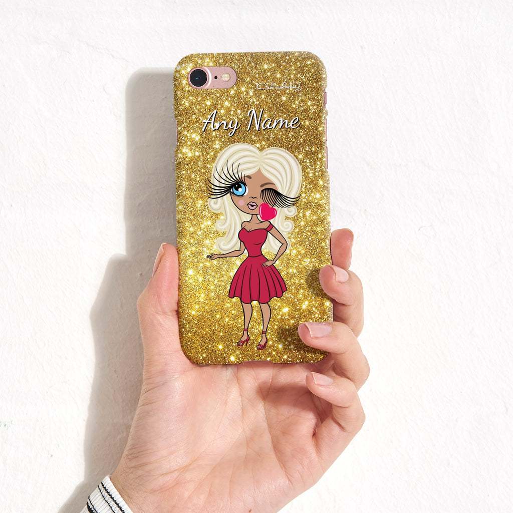 ClaireaBella Personalised Glitter Effect Phone Case - Gold - Image 4