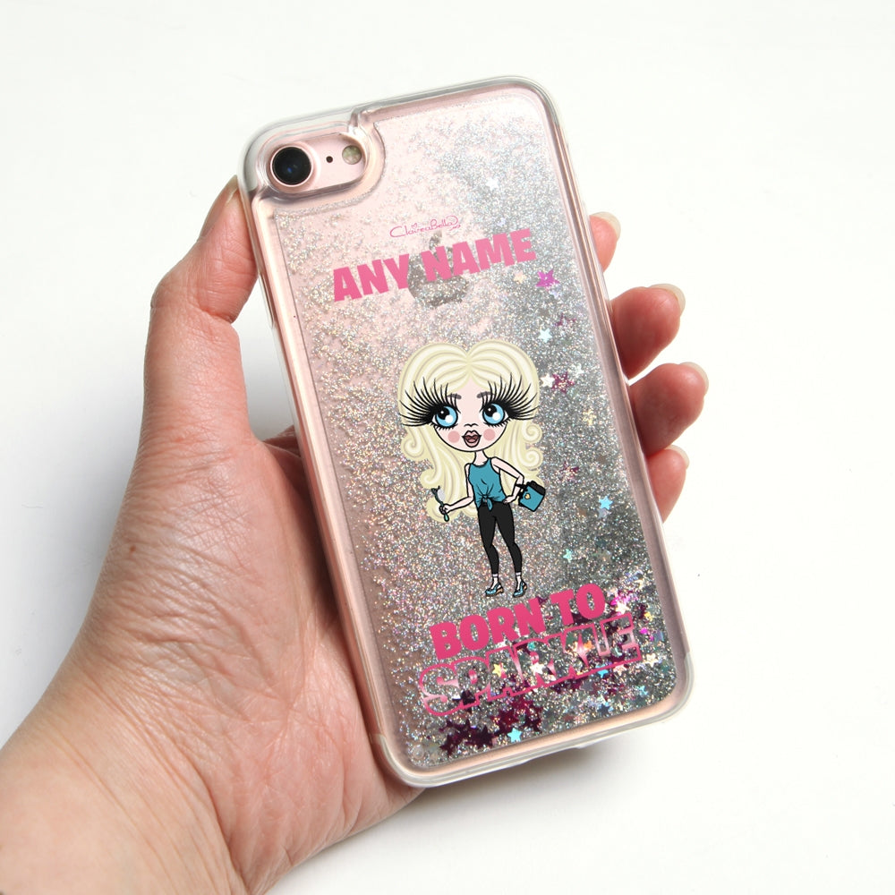 ClaireaBella Girls Sparkle Liquid Glitter Phone Case - Silver - Image 1