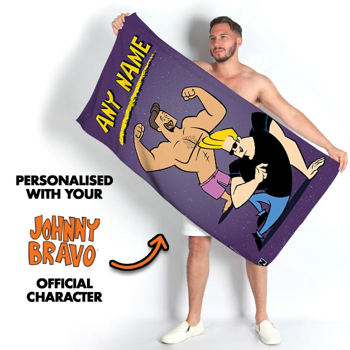 Johnny Bravo Guys Distressed Purple Beach Towel - Image 2