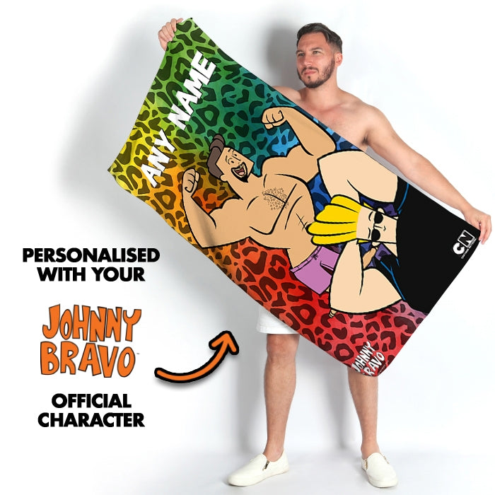 Johnny Bravo Guys Leopard Print Vibes Beach Towel - Image 2