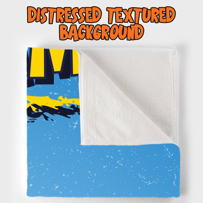 Johnny Bravo Ladies Distressed Blue Beach Towel - Image 3