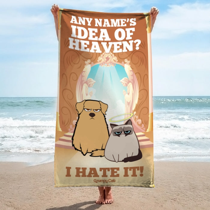Grumpy Cat Heaven Beach Towel - Image 3