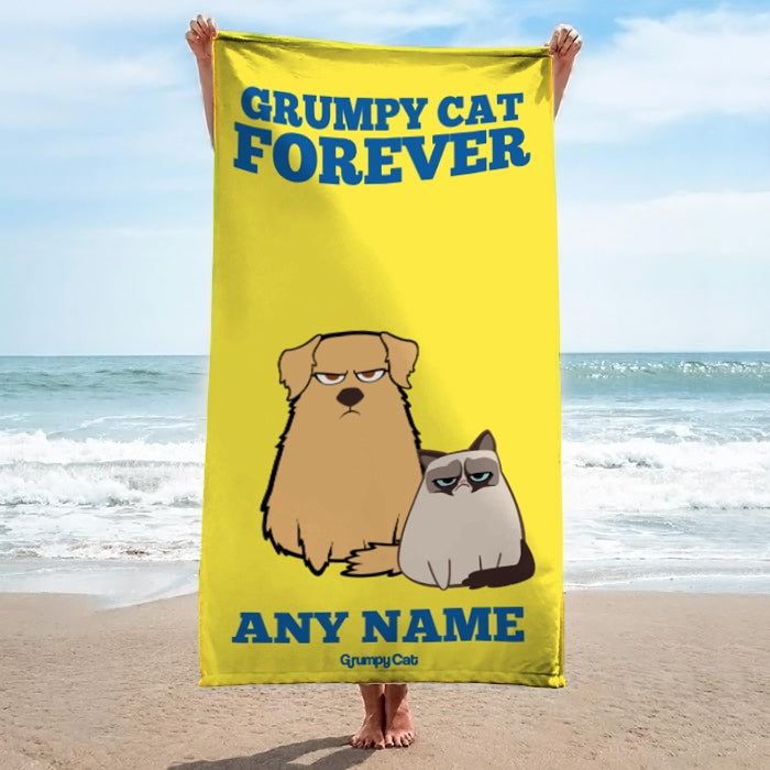 Grumpy Cat Forever Yellow Beach Towel - Image 3