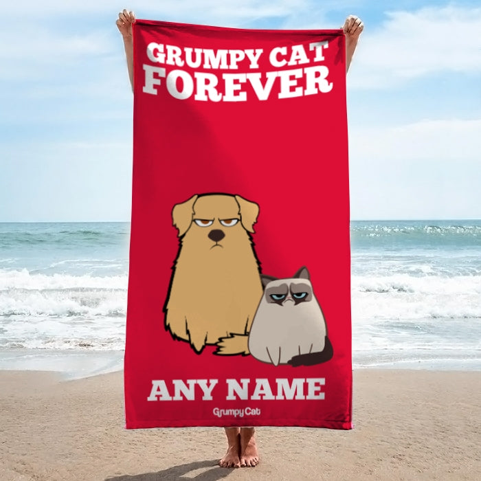 Grumpy Cat Forever Red Beach Towel - Image 3