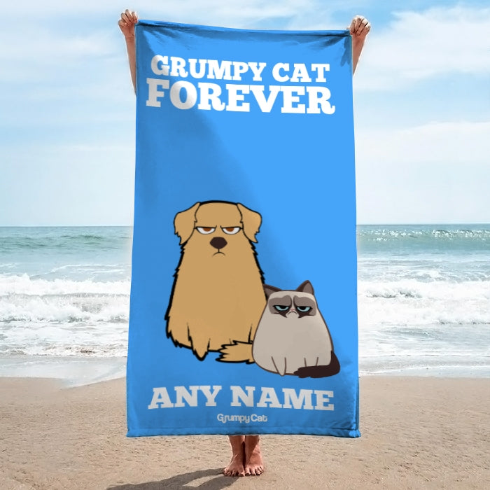 Grumpy Cat Forever Blue Beach Towel - Image 4