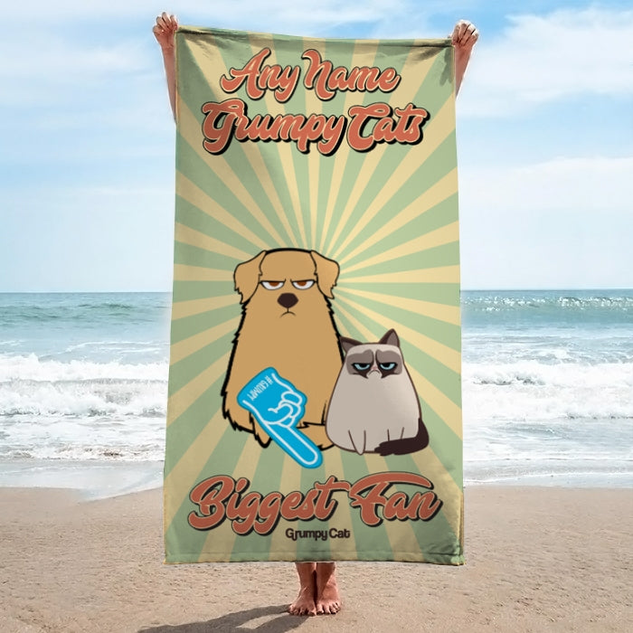Grumpy Cat Biggest Fan Beach Towel - Image 3