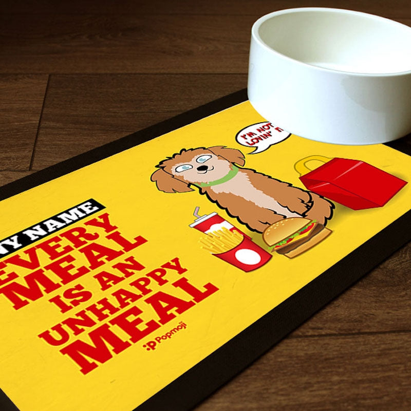 Personalised Dog Unhappy Meal Pet Mat - Image 1