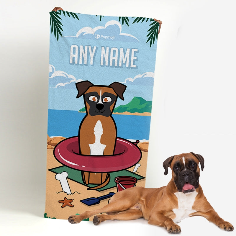 Personalised Dog Beach Fun Bath Towel - Image 1