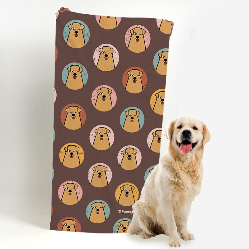 Personalised Dog Emoji Beach Towel - Image 1
