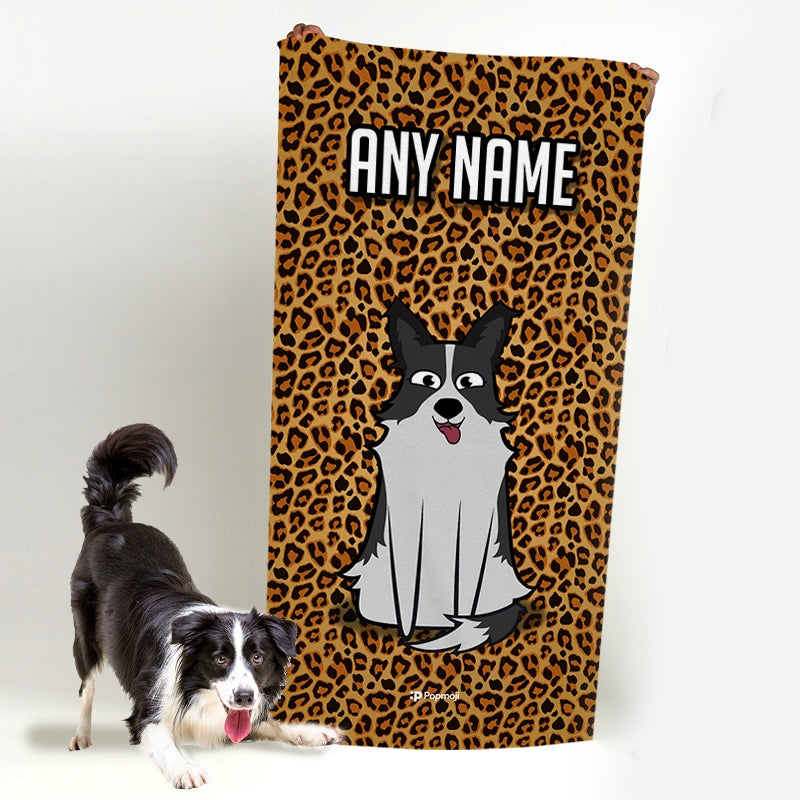 Personalised Dog Leopard Print Beach Towel - Image 1