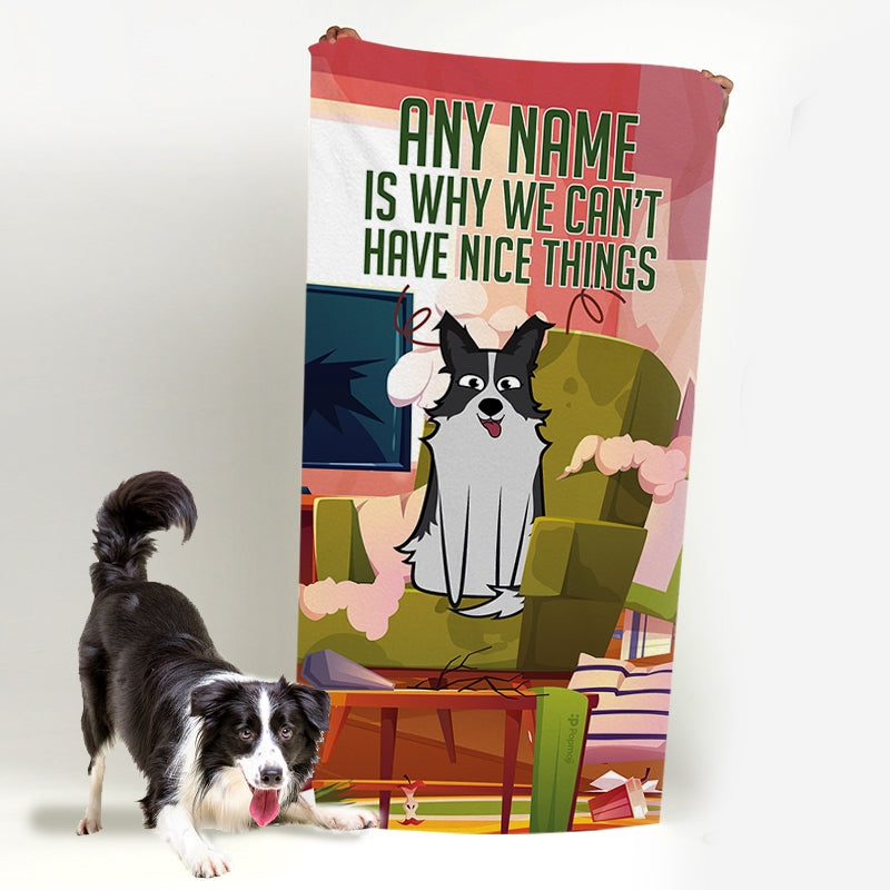 Personalised Dog Nice Things Bath Towel - Image 1