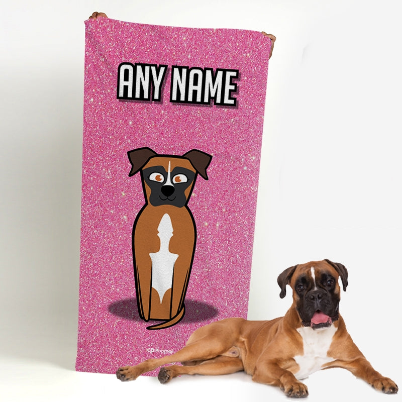 Personalised Dog Pink Glitter Beach Towel - Image 1