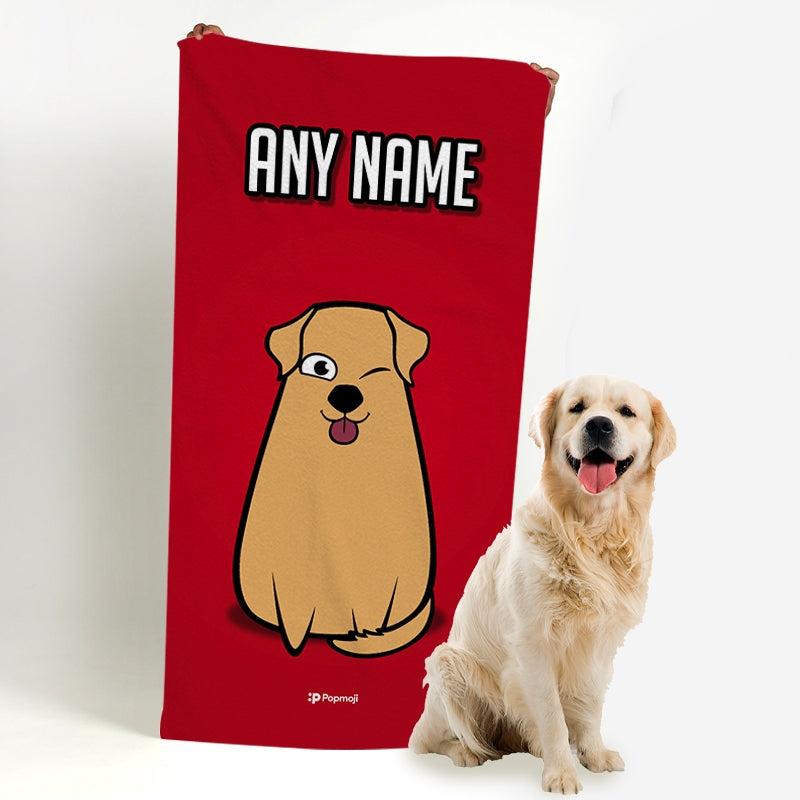 Personalised Dog Red Bath Towel - Image 1
