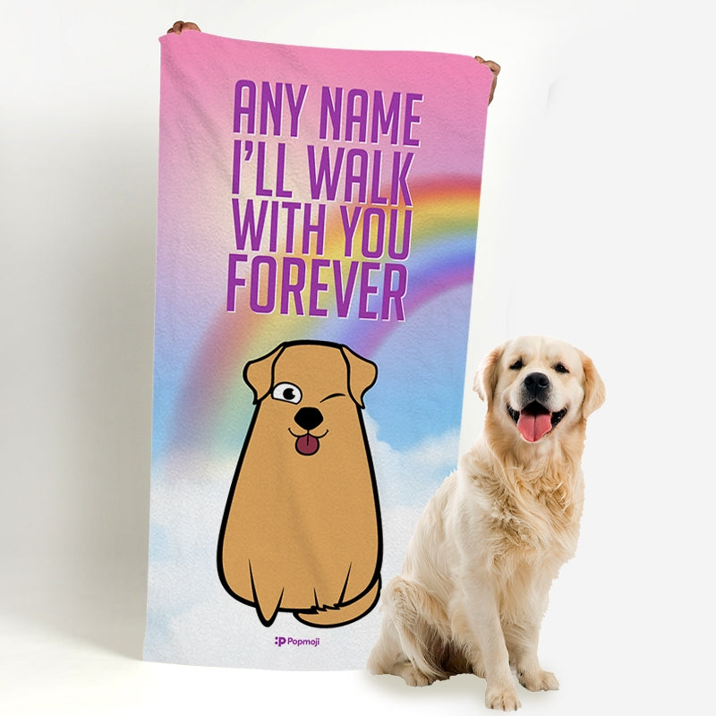 Personalised Dog Walk With You Forever Bath Towel - Image 4