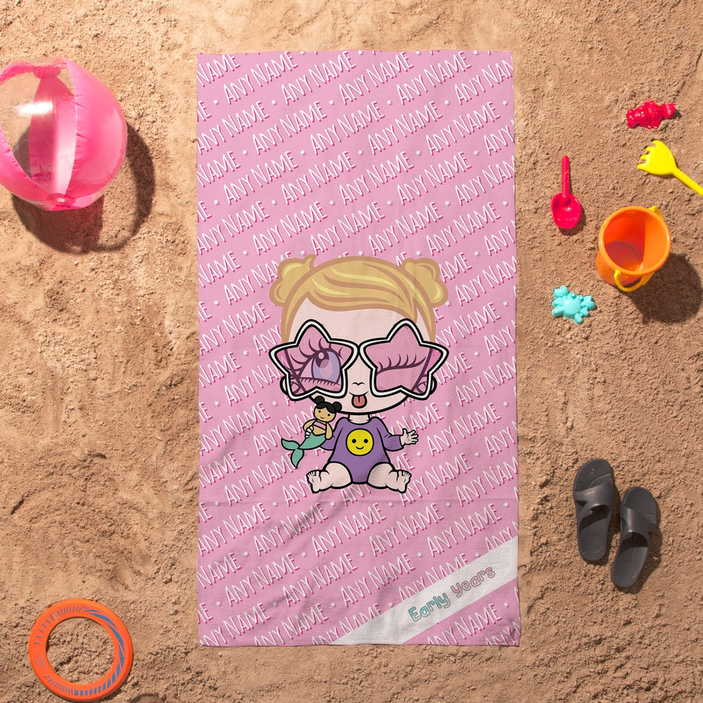 Early Years Pink Typography Beach Towel - Image 1